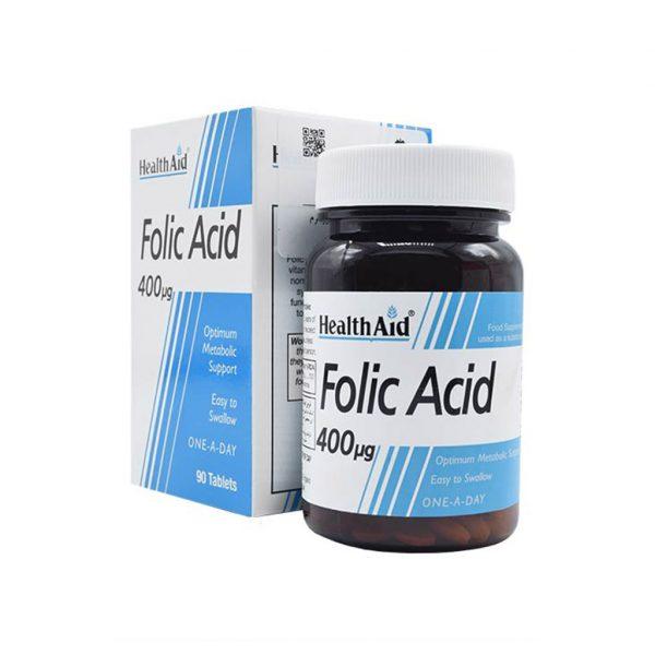 قرص فولیک اسید ۴۰۰ میکروگرم هلث اید ۹۰ عدد