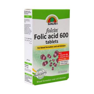 قرص فولیک اسید ۶۰۰ فولاسین سان لایف ۶۰ عددی