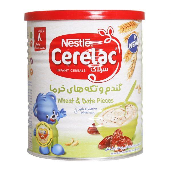 سرلاک گندم و تکه های خرما به همراه شیر نستله مناسب کودکان از پایان ۸ ماهگی ۴۰۰ گرم
