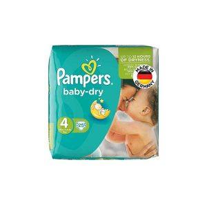 پوشک سایز ۴ پمپرز مدل baby dry بسته ۲۵ عددی