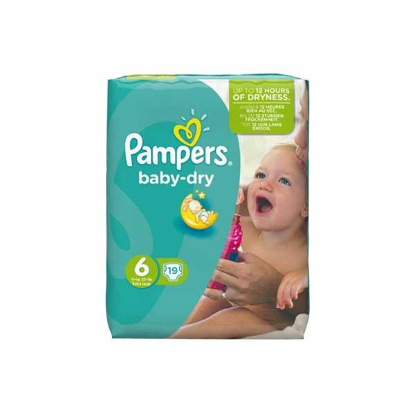 پوشک سایز ۶ پمپرز مدل Baby Dry بسته ۱۹ عددی