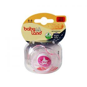 پستانک ارتودنسی شب تاب بیبی لند کد 482 مناسب نوزادان از بدو تولد تا 6 ماهه