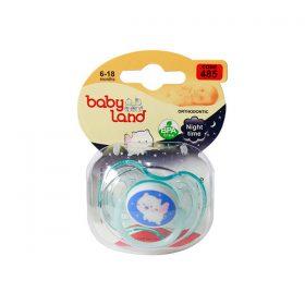 پستانک ارتودنسی بیبی لند کد 485 مدل شب تاب مناسب نوزادان 6 تا 18 ماهه