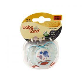 پستانک ارتودنسی شب تاب بیبی لند کد 486 مناسب نوزادان از بدو تولد تا 6 ماهگی