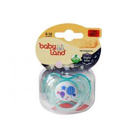 پستانک ارتودنسی بیبی لند کد 487 مدل شب تاب مناسب نوزادان 6 تا 18 ماهه