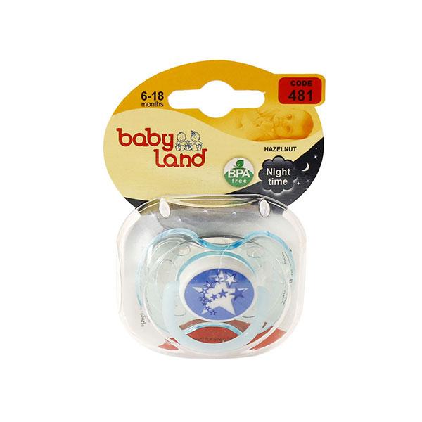 پستانک فندقی شب تاب بیبی لند کد 481 مناسب نوزادان 6 تا 18 ماه