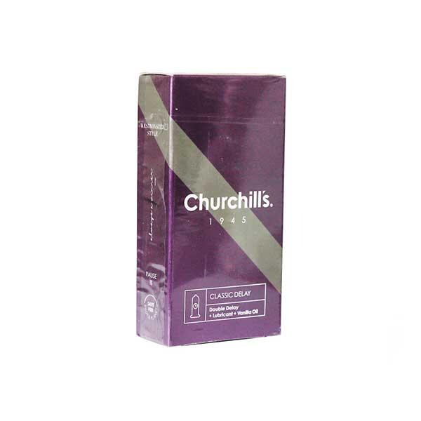 کاندوم با فرم بدنه ساده چرچیلز حاوی ماده تاخیری و اسانس وانیل 12 عدد