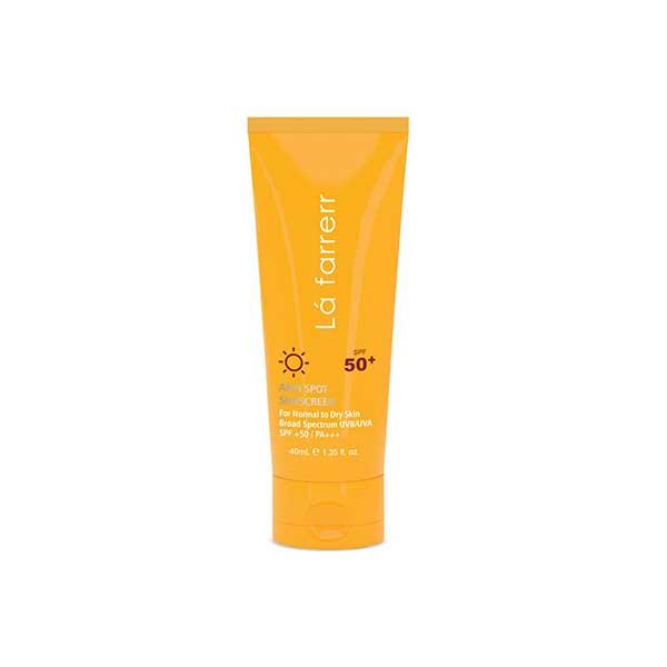 کرم ضد آفتاب SPF50 پوست خشک و معمولی لافارر ضد لک بی رنگ 40 میلی گرم