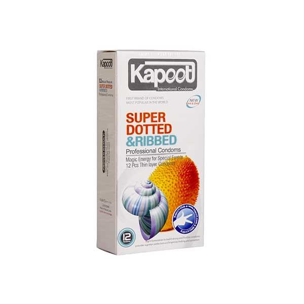 کاندوم خاردار و شیاردار کاپوت مدل Super Dotted And Ribbed تعداد 12 عدد