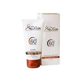 کرم ضد آفتاب SPF60 مدیسان رنگی مناسب پوست چرب و معمولی 50 میلی لیتر