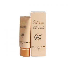 کرم ضد آفتاب با پوشش کرم پودر مدیسان مناسب انواع پوست بژ روشن 30 میلی لیتر
