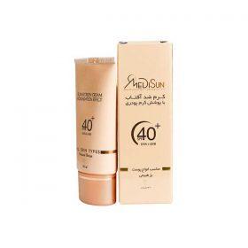 کرم ضد آفتاب با پوشش کرم پودر مدیسان مناسب انواع پوست بژ طبیعی 30 میلی لیتر