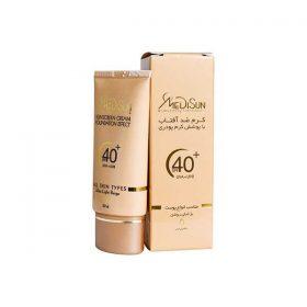 کرم ضد آفتاب با پوشش کرم پودر مدیسان مناسب انواع پوست بژ خیلی روشن 30 میلی لیتر