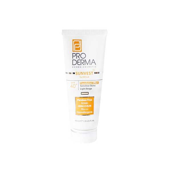 کرم ضد آفتاب مینرال رنگی پرودرما ⁺SPF40 مناسب پوست های حساس ۴۰ میلی لیتر